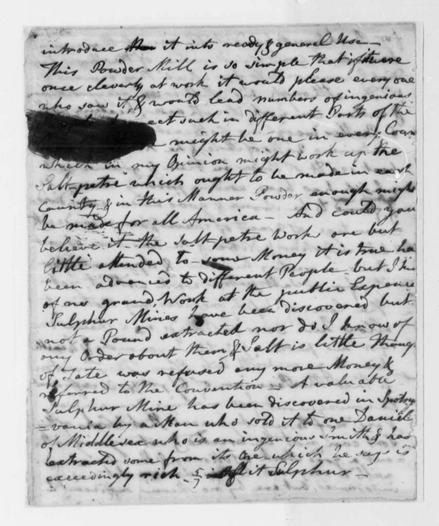 John Page to Thomas Jefferson, April 26, 1776, Condition of Colonies; Lack of Supplies; Gun Powder Production from Saltpeter