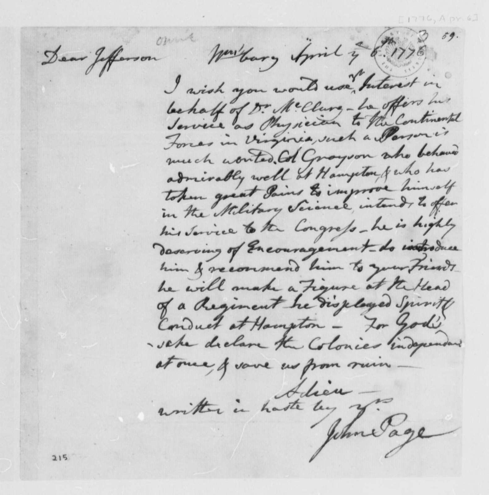 John Page to Thomas Jefferson, April 6, 1776, Recommendations for James McClurg and William Grayson