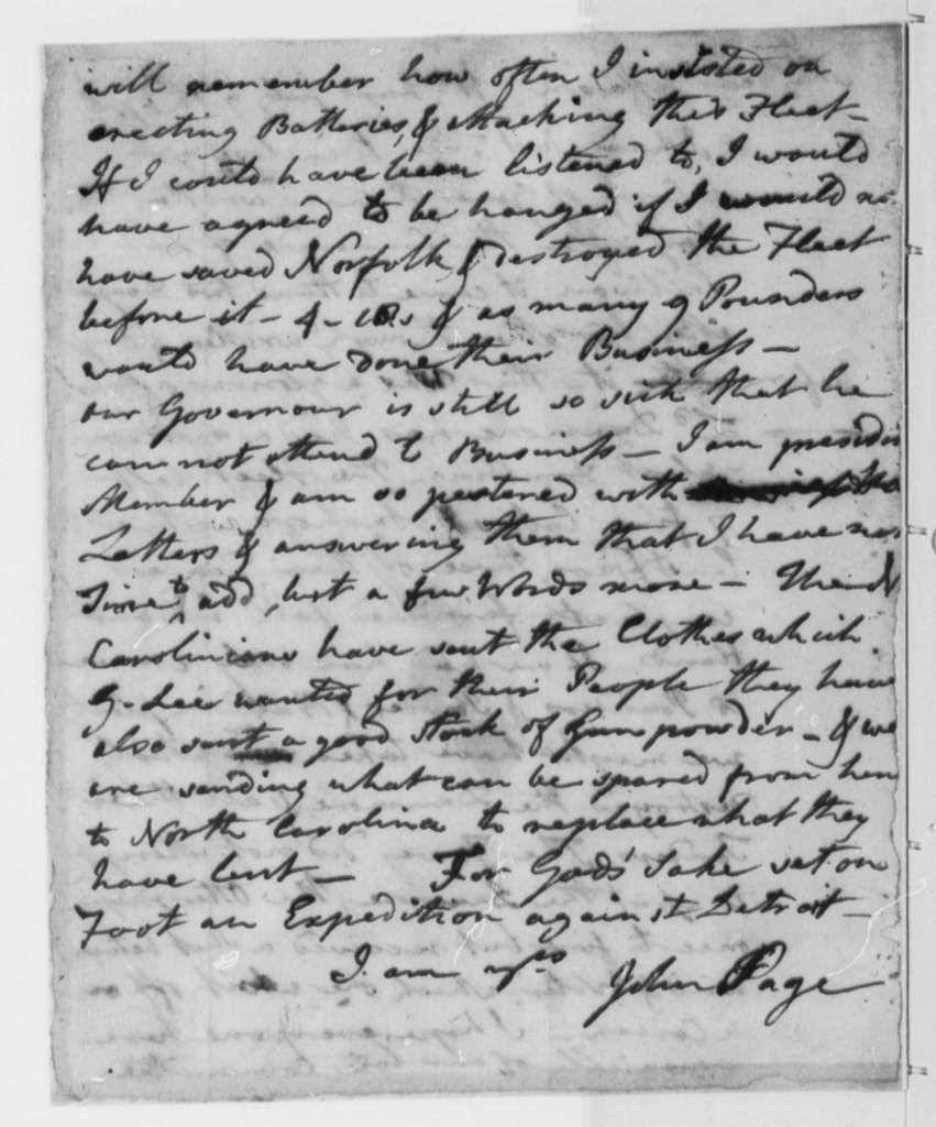 "John Page to Thomas Jefferson, July 15, 1776, Lord Dunmore's ""Drubbing"" at Gwyn's Island, Chesapeake Bay"