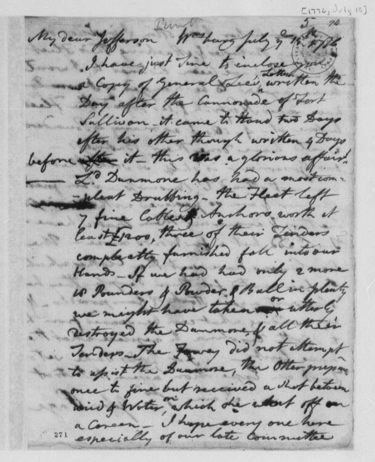 "John Page to Thomas Jefferson, July 15, 1776, Lord Dunmore's ""Drubbing"" at Gwyn's Island, Chesapeake Bay"