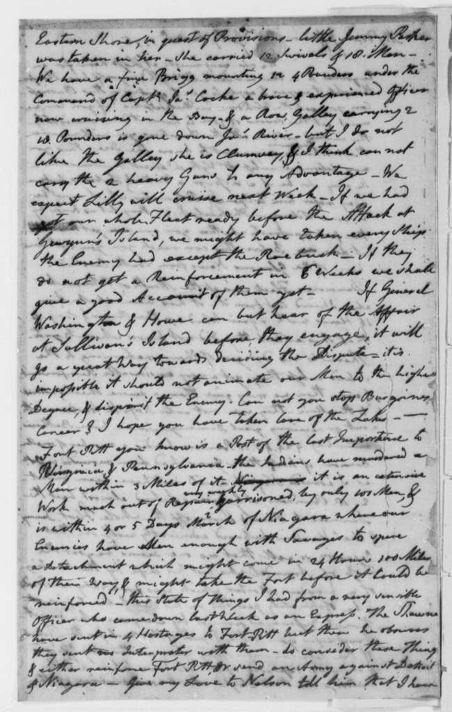 John Page to Thomas Jefferson, July 20, 1776, State Seal for Virginia; Lord Dunmore's Flight from Gwyn's Island, Chesapeake Bay, etc.