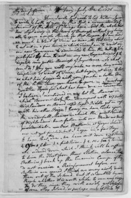 John Page to Thomas Jefferson, July 6, 1776, News of Virginia Convention; Defense of Virginia