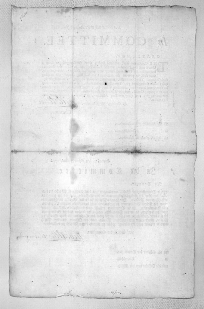 Lancaster, the 14th July, 1776. In Committee. Gentlemen. The Committee have received orders from the Congress, to keep a guard over the prisoners, at the barracks, and to have the barracks surrounded by a stockaded fort ... By order of the Commi