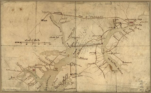[Map of the country between and bordering the Delaware River and Chesapeake Bay, showing roads to Philadelphia and localities.