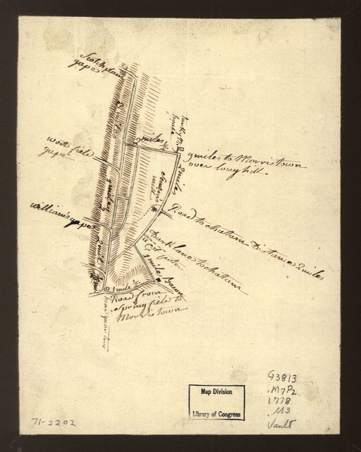 [Map showing roads to Morristown]