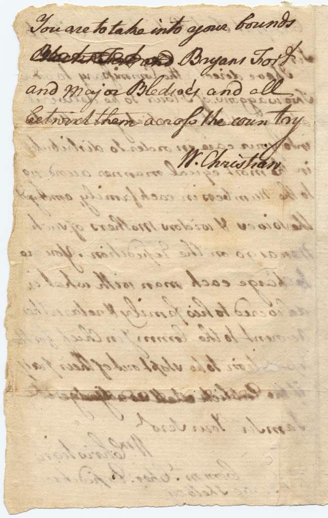 Military orders from Colonel William Christian to Captain Isaac Shelby