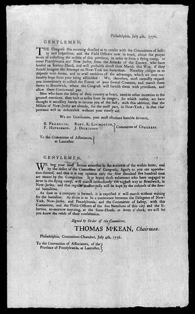 [Notice, dated 4 July 1776, from a congressional committee to militiamen in Lancaster, Pa., accompanied by a letter of recommendation from the Philadelpphia Committee of Safety, concerning the defense of N.J. and Pennsylvania]