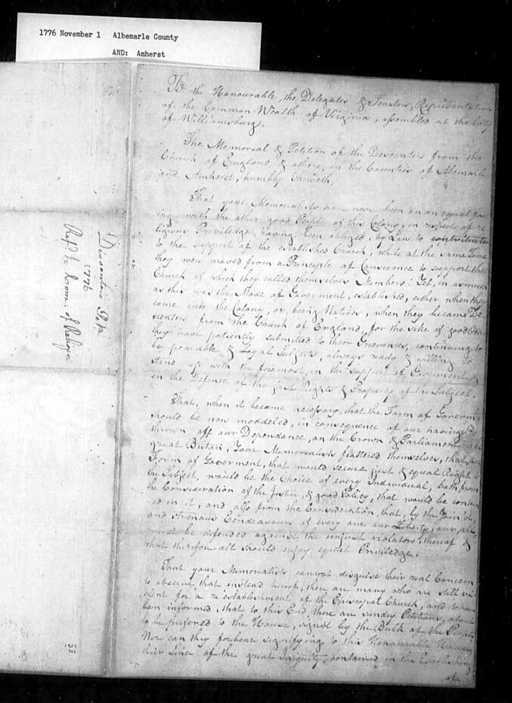 November 1, 1776, Albemarle, Amherst, Dissenters, for disestablishment and religious equality.