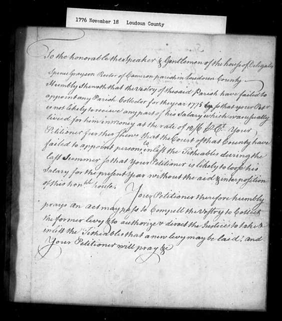 November 18, 1776, Loudoun, Spence Grayson, Rector of Cameron Parish, for salary due him.