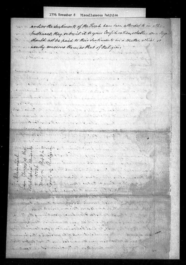 November 8, 1776, Miscellaneous, Clergy of the Established Church, defending the establishment.