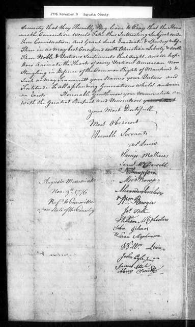 November 9, 1776, Augusta, County Committee, against inequalities arising from establishment church.