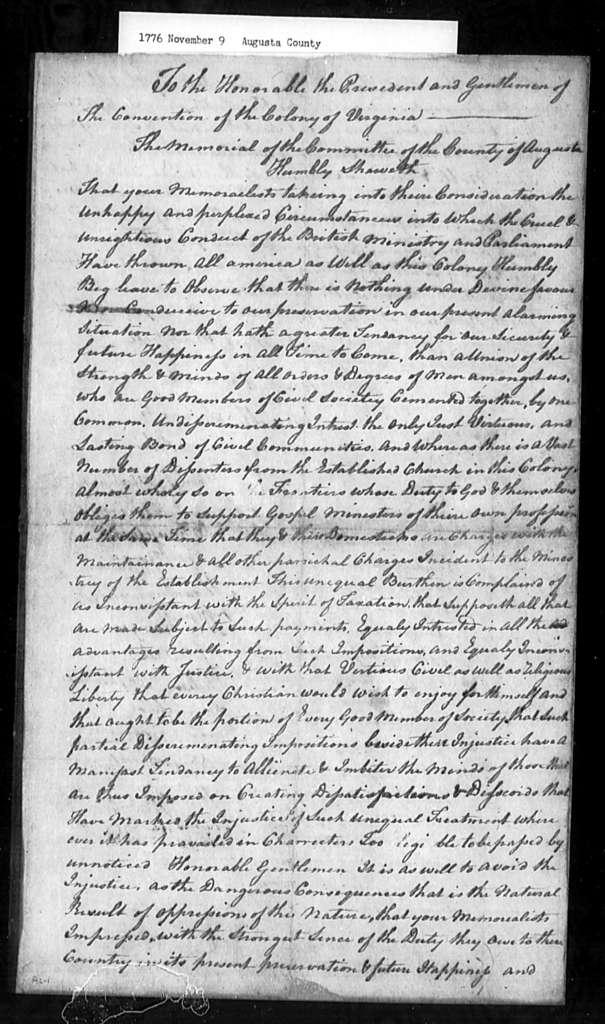 November 9, 1776, Augusta, County Committee, against inequalities arising from establishment church.