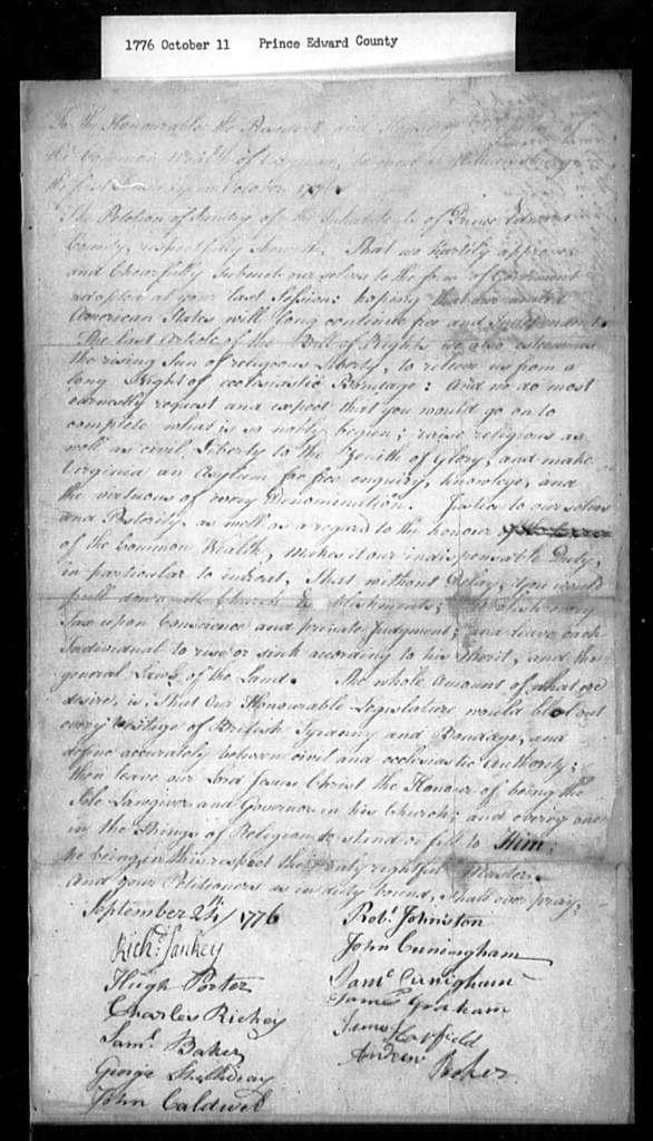 October 11, 1776, Prince Edward, For disestablishment.