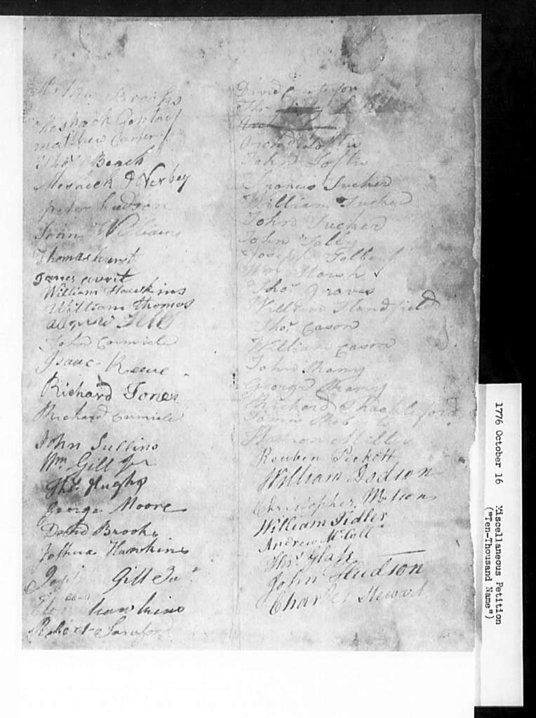 """October 16, 1776, Miscellaneous, """"Ten-thousand name"""" petition by Dissenters from whole state, for ending established church, and for institution of religious equality."""