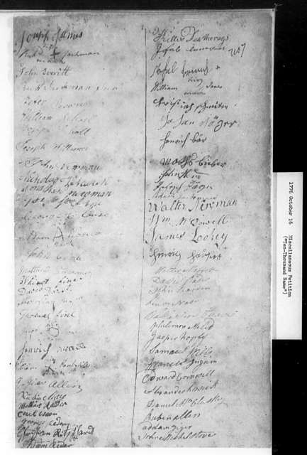 "October 16, 1776, Miscellaneous, ""Ten-thousand name"" petition by Dissenters from whole state, for ending established church, and for institution of religious equality."