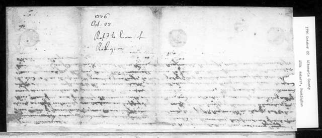 October 22, 1776, Albemarle, Amherst, Buckingham, Dissenters, for religious equality.