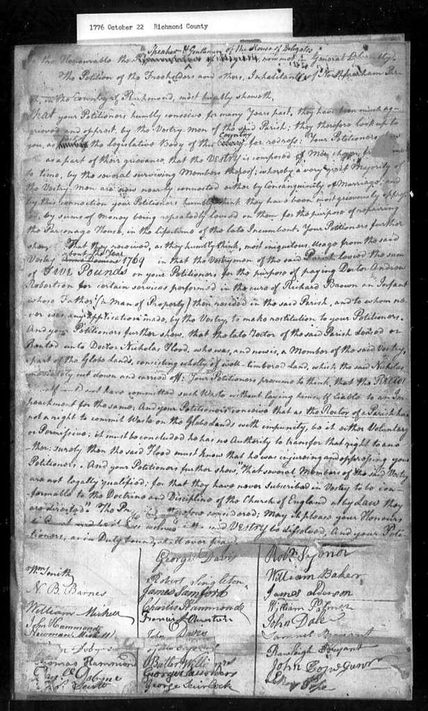 October 22, 1776, Richmond County, North Farnham Parish, for dissolution of oppressive vestry.