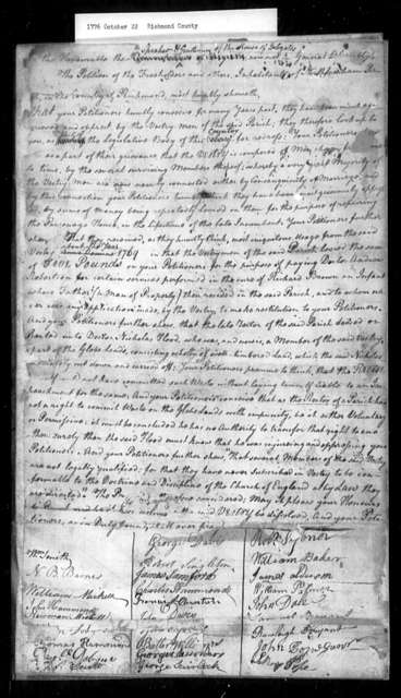 October 22, 1776, Richmond County, North Farnham Parish, for dissolution of oppressive vestry.
