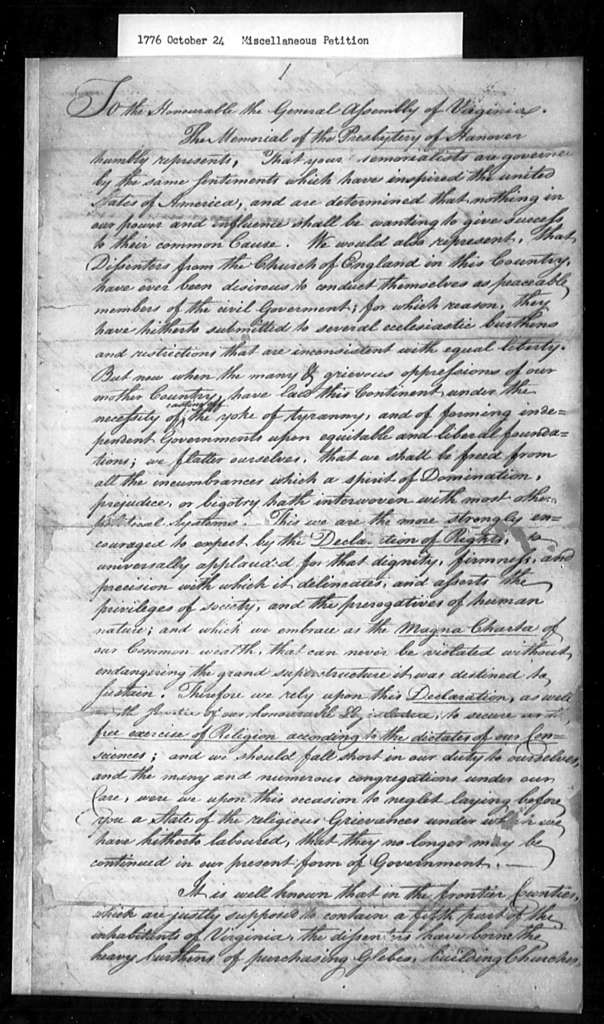 October 24, 1776, Miscellaneous, Presbytery of Hanover, for disestablishment.