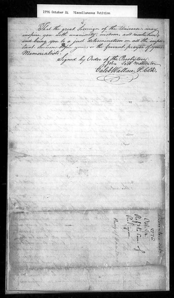 October 24, 1776, Miscellaneous, Presbytery of Hanover, for disestablishment.