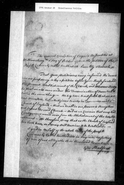 October 28, 1776, Miscellaneous, General convention of Methodists, saying that they are not dissenters and are not in favor of disestablishment.