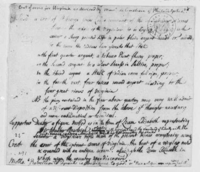 P. E. Du Simitiere, August 1776, Description and Sketch of Virginia Coat of Arms