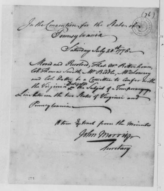 Pennsylvania Convention, July 20, 1776, Resolution to Confer with Virginia on Boundary Dispute