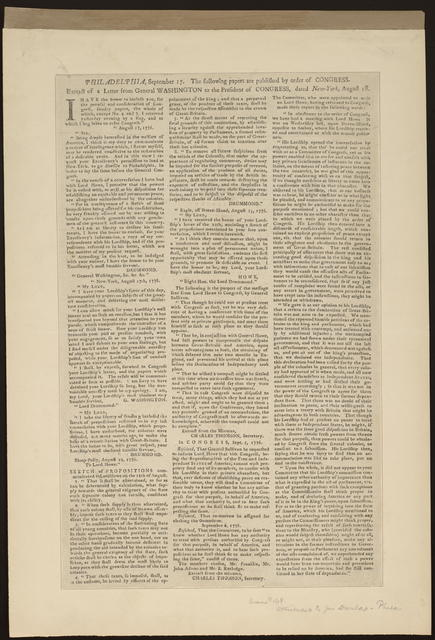 Philadelphia, September 17. The following papers are published by order of Congress : Extract of a letter from General Washington to the President of Congress, dated New-York, August 18.