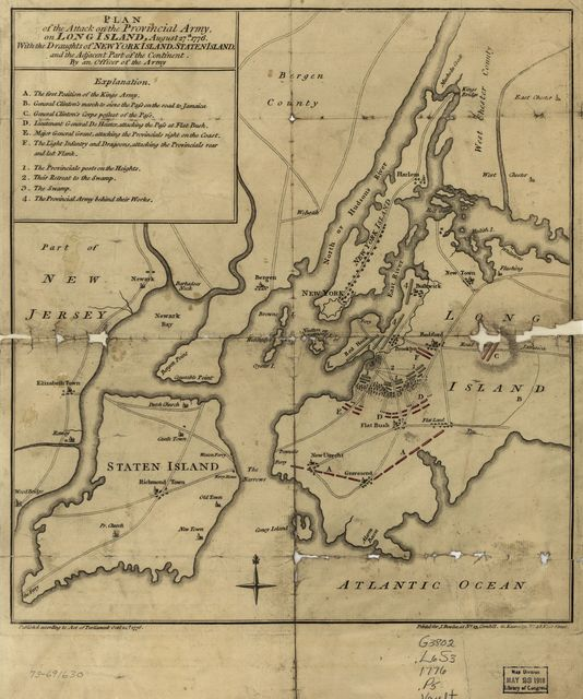 Plan of the attack on the provincial army on Long Island, August 27th 1776. With the draughts of New York Island, Staten Island, and the adjacent part of the continent.