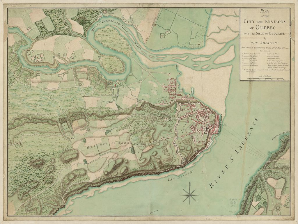 Plan of the city and environs of Quebec, with its siege and blockade by the Americans from the 8th of December, 1775 to the 13th of May, 1776.