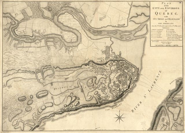 Plan of the city and environs of Quebec : with its siege and blockade by the Americans, from the 8th. of December 1775 to the 13th. of May, 1776 /