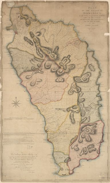 Plan of the island of Dominica laid down by actual survey under the direction of the Honorable the Commissioners for the Sale of Lands in the Ceded Islands,