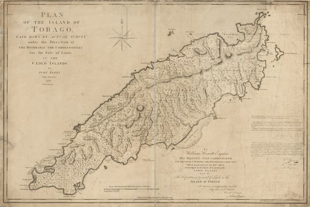 Plan of the island of Tobago, laid down by actual survey under the direction of the Honorable the Commissioners for the Sale of Lands in the Ceded Islands.