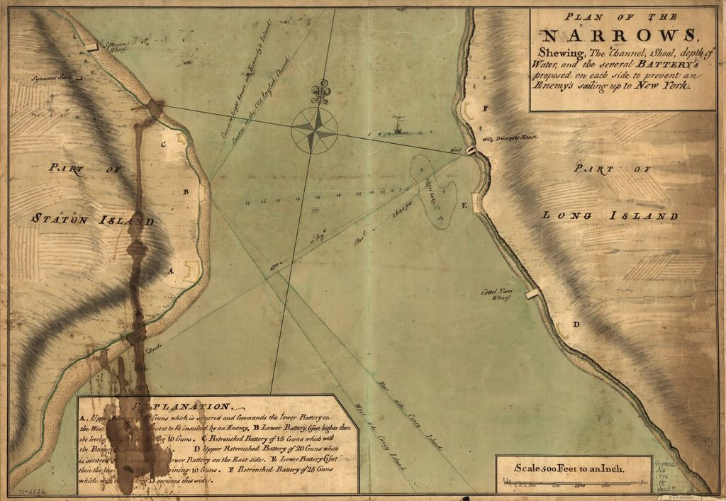 Plan of The Narrows, shewing the channel, shoal, depth of water, and the several battery's proposed on each side to prevent an enemy's sailing up to New York.