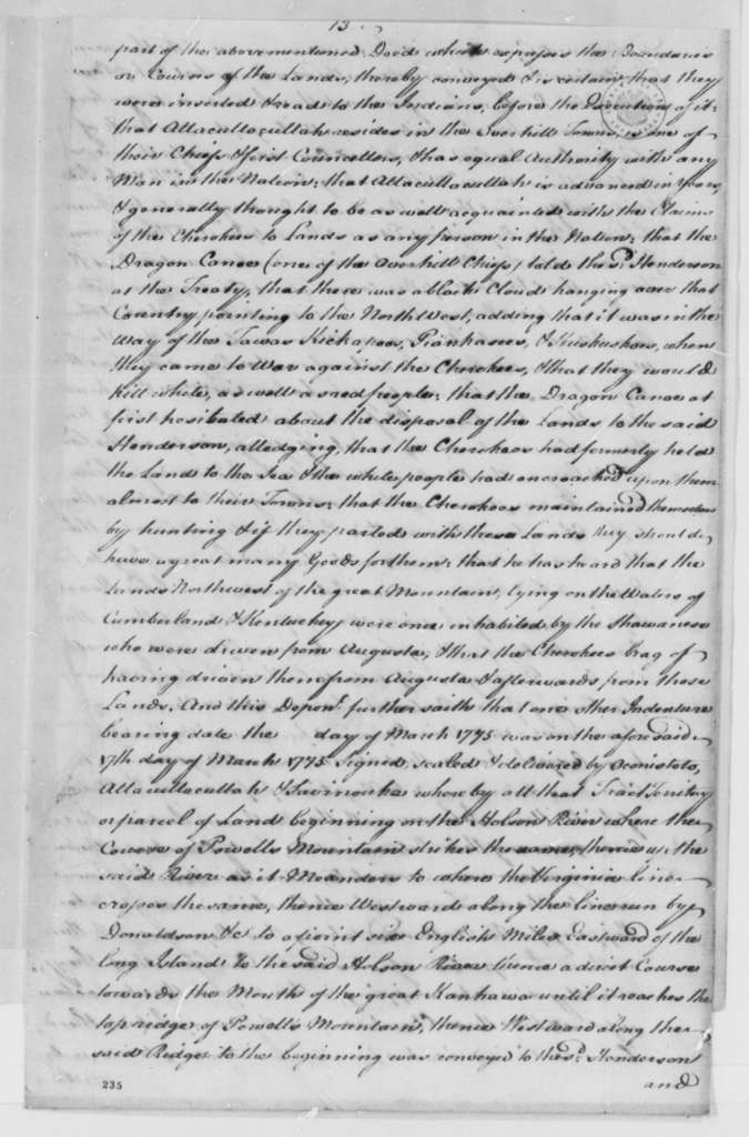 Richard Henderson, et al to Virginia Convention, 1776-77, Memorial on Settlement of Ohio River Lands Purchased from Cherokee Indians
