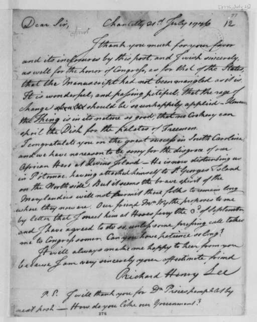 Richard Henry Lee to Thomas Jefferson, July 21, 1776, Declaration of Independence; Lord Dunmore's Flight from Gwyn's Island, Chesapeake Bay