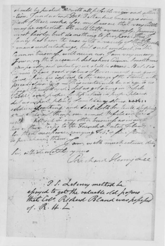 Richard Henry Lee to Thomas Jefferson, November 3, 1776, Benedict Arnold and Canadian Campaign; Military and Naval Actions; Cannon