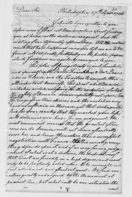 Richard Henry Lee to Thomas Jefferson, September 27, 1776, Plan of Foreign Treaties; Relations with France