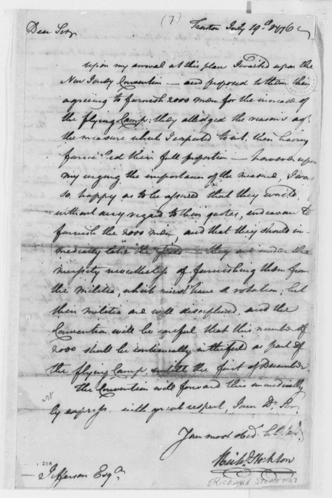 """Richard Stockton to Thomas Jefferson, August 19, 1776, New Jersey Convention to Furnish Troops for """"Flying Camp"""""""
