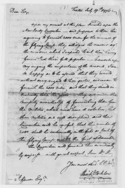 "Richard Stockton to Thomas Jefferson, August 19, 1776, New Jersey Convention to Furnish Troops for ""Flying Camp"""