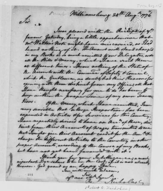 Robert C. Nicholas to Thomas Jefferson, August 24, 1776, Financial Accounts