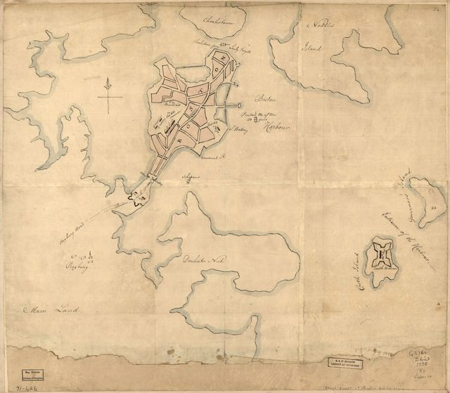 [Rough draught of Boston and harbour.