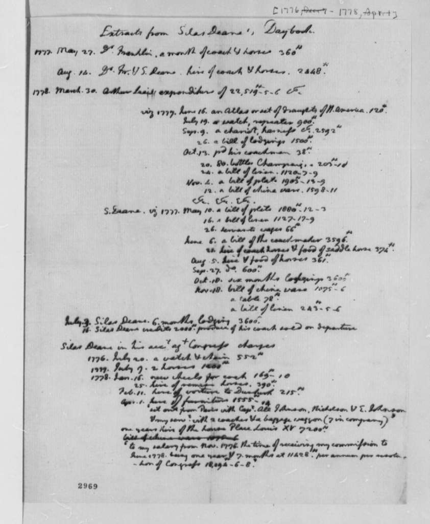 Silas Deane, 1776-78, Extracts from Cash Journal, Letterbook, and Daybook