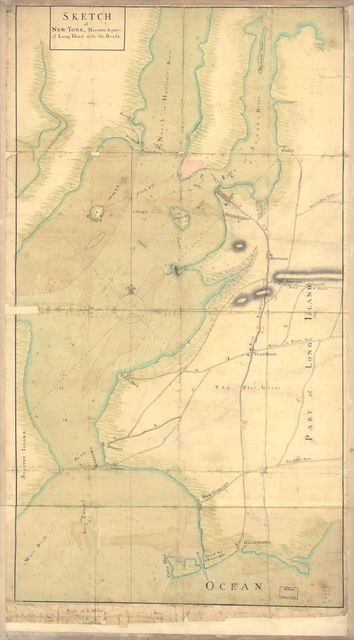 Sketch of New York, narrows & part of Long Island with the roads.