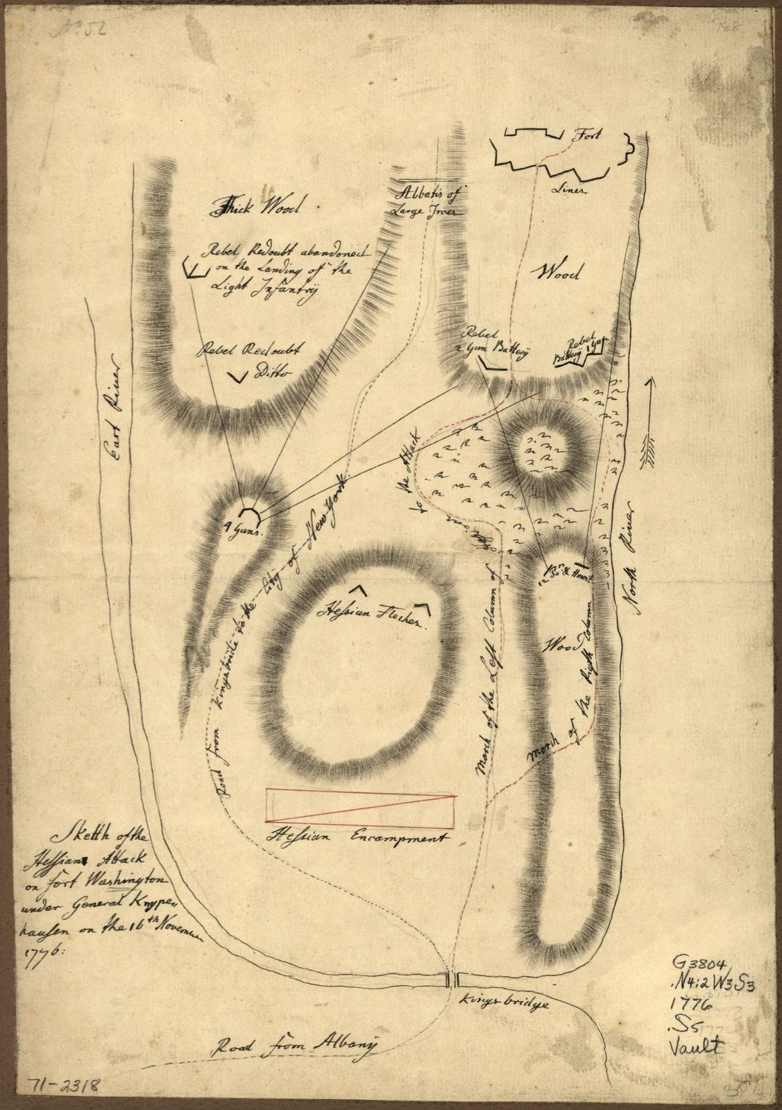 Sketth [sic] of the Hessian attack on Fort Washington under General Knypehausen on the 16th November 1776.