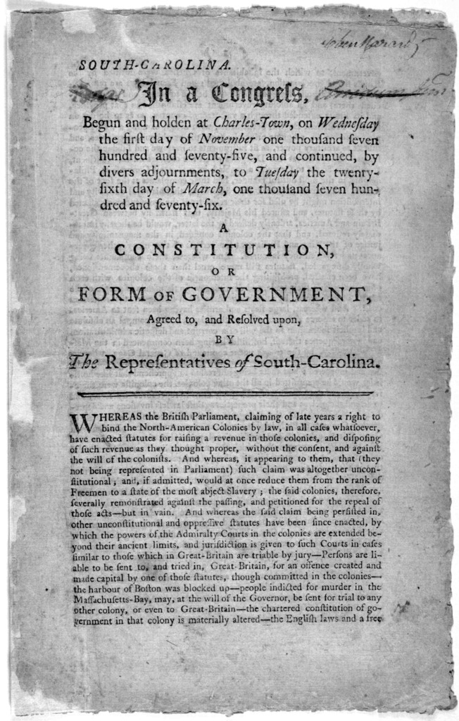 South Carolina. In a Congress, begun and holden at Charles-Town, on Wednesday the first day of November one thousand seven hundred and seventy-five, and continued, by adjournments, to Tuesday the twenty-sixth day of March, one thousand and seven