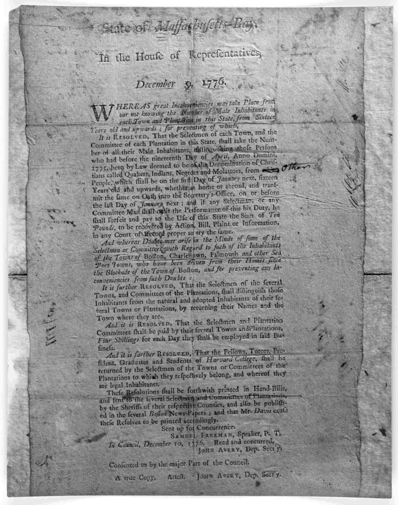 State of the Massachusetts-Bay. In the House of representatives, December 9, 1776. Whereas great inconveniences, may take place from our not knowing the number of male inhabitants in each town and plantation in this state, from sixteen years old