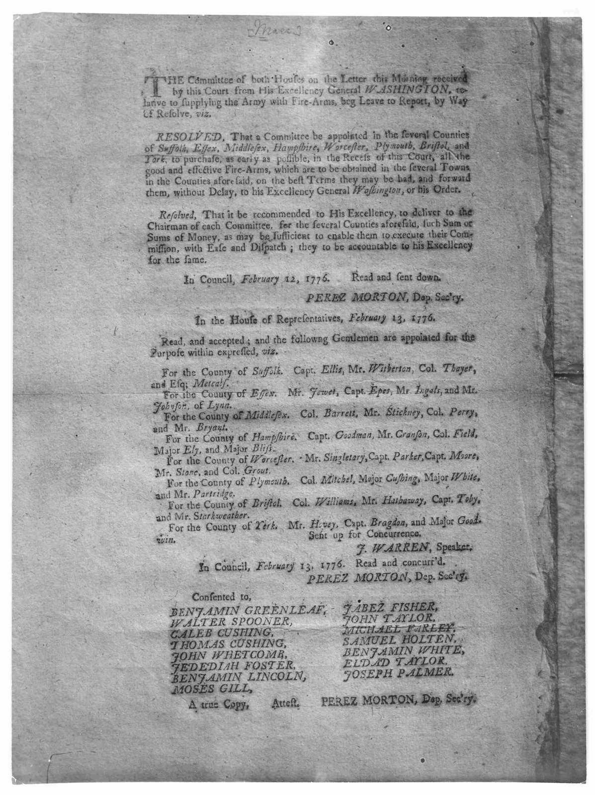 The Committee of both houses on the letter this morning received by this Court from His Excellency General Washington relative to supplying the army with fire-arms, beg leave to report by way of resolve: [That a committee be appointed to collect