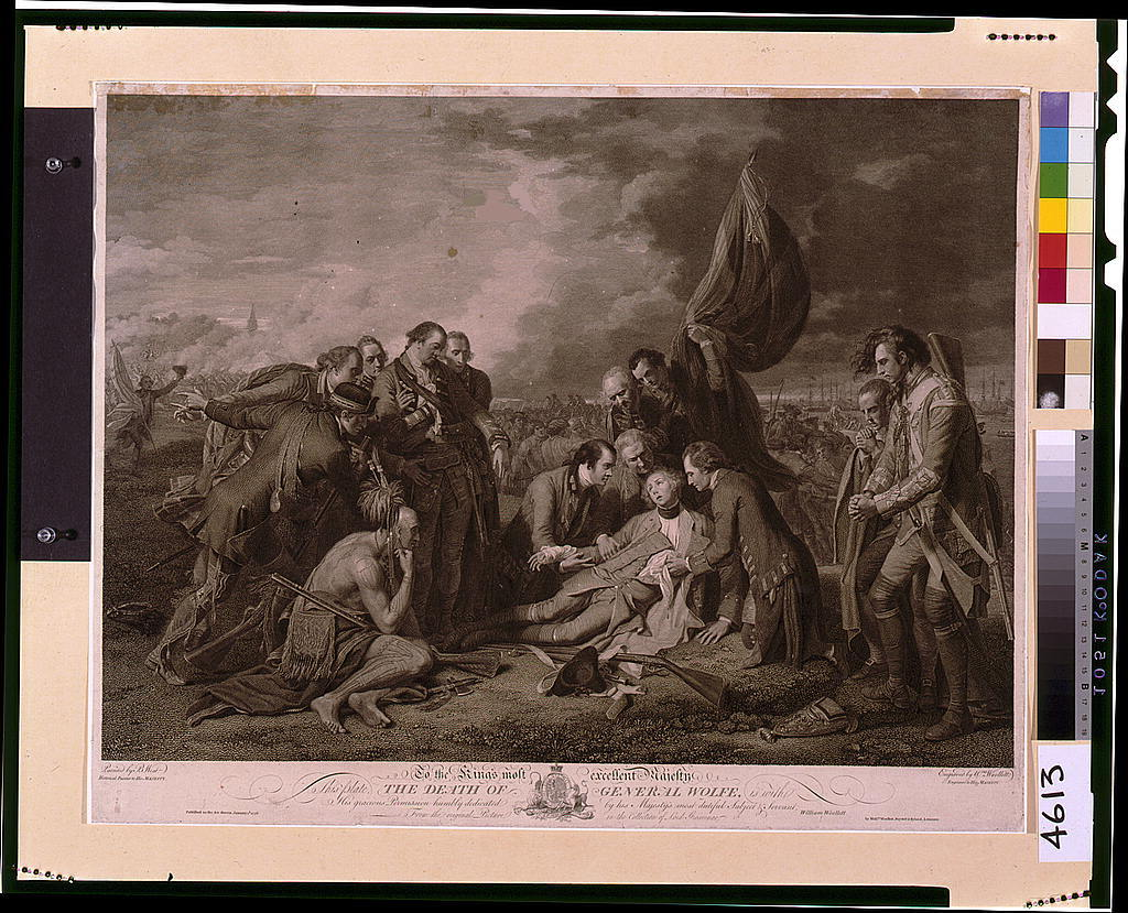 The death of General Wolfe / painted by B. West, historical painter to His Majesty ; engraved by Wm. Woollett, engraver to His Majesty.