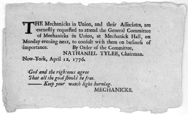 The mechanicks in union, and their associates, are earnestly requested to attend the general committee of mechanicks in Union, at Mechanick Hall, on Monday evening next, to consult with them on business of importance. By order of the Committee.
